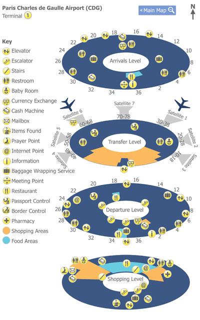 Paris Charles de Gualle Airport (CDG) Terminal 1 Map - Map ...