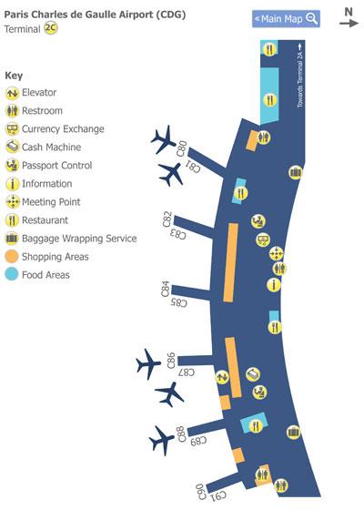 Paris Charles de Gaulle Airport (CDG) Terminal 2c Map - Map ...